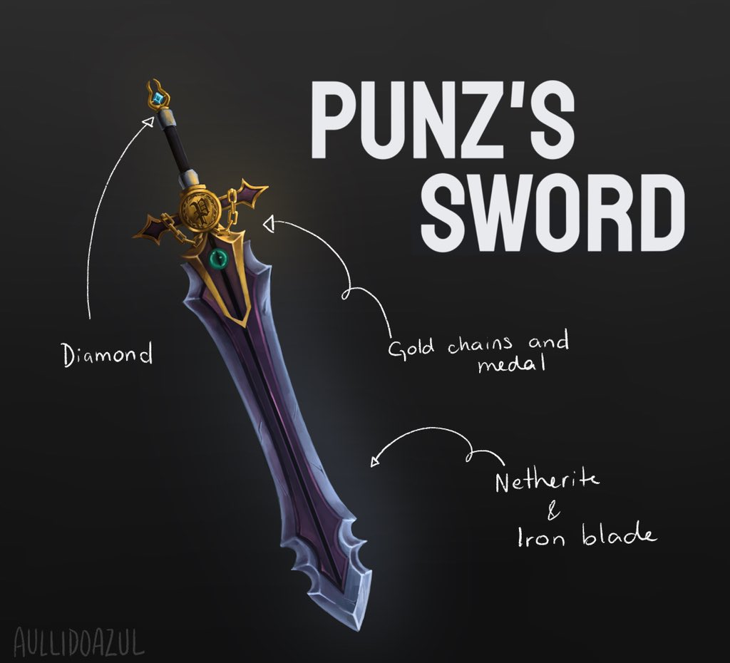 RT @aullidoazul: (late) swordtember day 22: Punz's sword  #punzfanart #dreamsmpfanart #dsmpfanart https://t.co/cd6RmlguVP