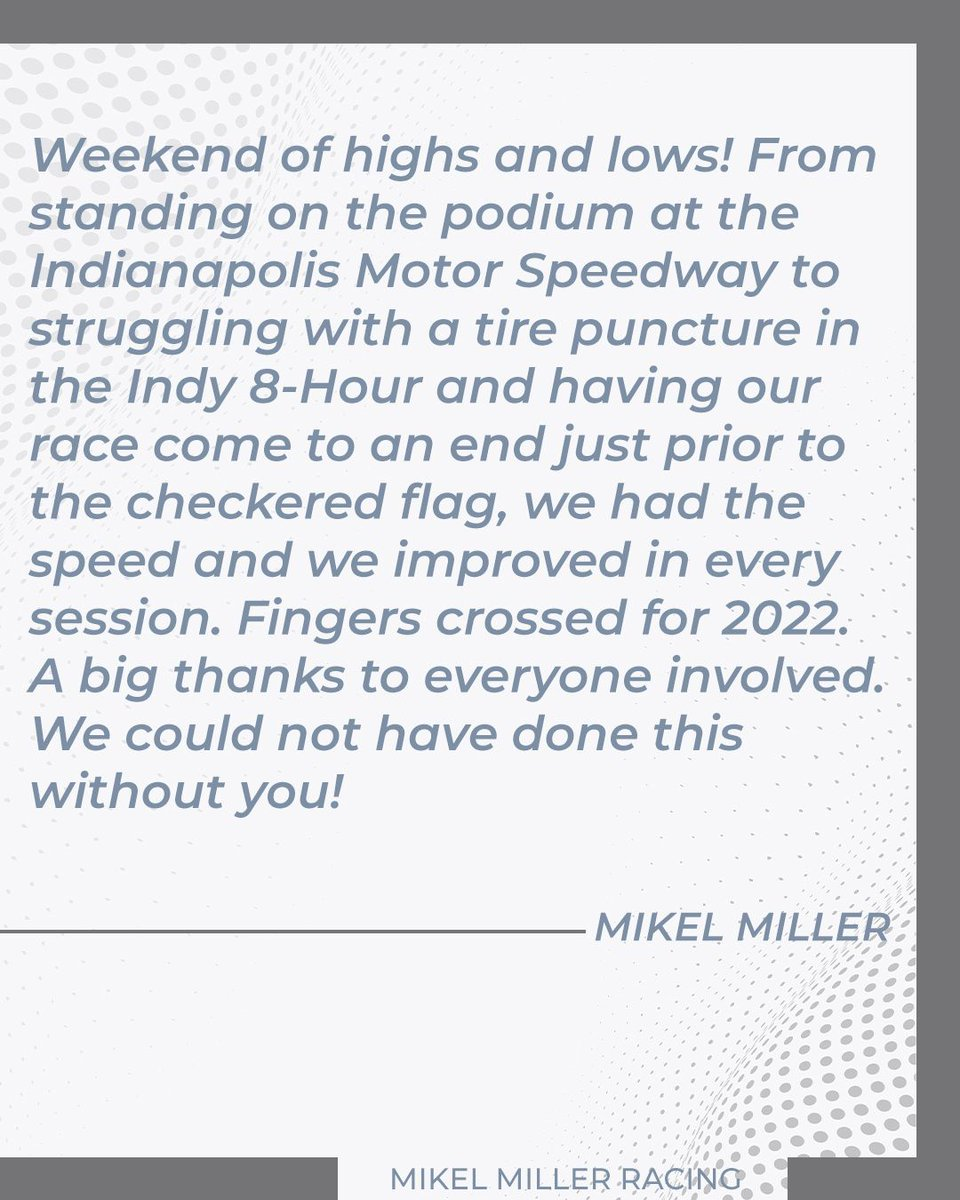 Shout out to @MikelMilleRacer and the Automatic Racing team!  Thank you for carrying the Race for RP logo on board the No. 09 Pepper Pike Capital Partners Aston Martin Vantage GT4 at the Brickyard this weekend.    #RaceforRP #RelapsingPolychondritis #GT4America #AstonMartin