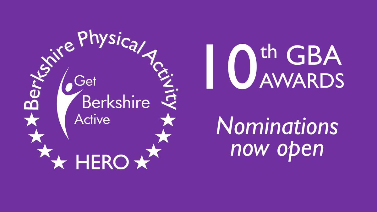 📢We are delighted to announce that nominations open for the #10thGBAAwards. Nominate your 'Berkshire physical activity heroes'. It can be for any size organisation, charity, club, community group, school or an individual (aged 11+) 👉https://t.co/dfH0bbX9mq