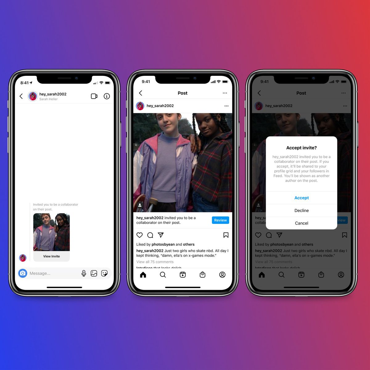You 🤝 Me We're launching Collabs, a new way to co-author Feed posts and Reels. Invite an account to be a collaborator: ✅Both names will appear on header ✅Share to both sets of followers ✅Live on both profile grids ✅Share views, likes and comments