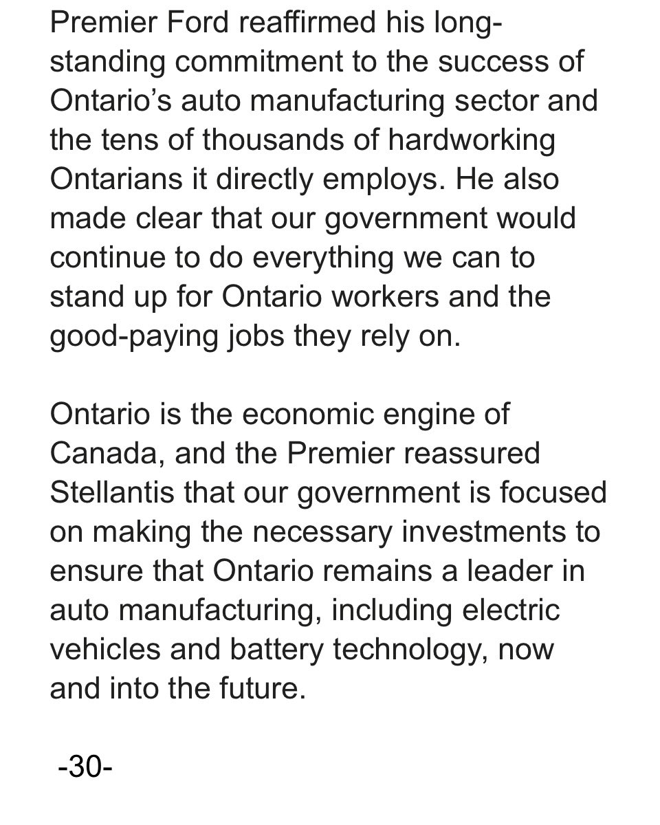 Premier @fordnation and Minister @VictorFedeli spoke to representatives from Stellantis this afternoon. Readout 👇🏻