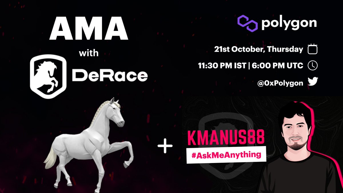 📢 Join us for this amazing Community Talk - 3rd Edition - The Future of NFT gaming! We'll be joined by @DeRaceNFT and @KmanuS88 🔥 🗓 21st October 2021, Thursday 🕖 11:30 PM IST | 6:00 PM UTC 📍 twitter.com/i/spaces/1lDxL…