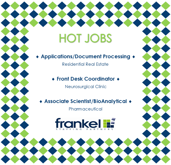 Ready for something new? Check out these HOT JOBS! For more info/view current openings:  #frankelstaffingpartners #hotjobs #nowhiring #realestatejobs #frontdeskjobs #labjobs #scientistjobs #documentjobs #pharmajobs #hiringnow #triangletuesdays