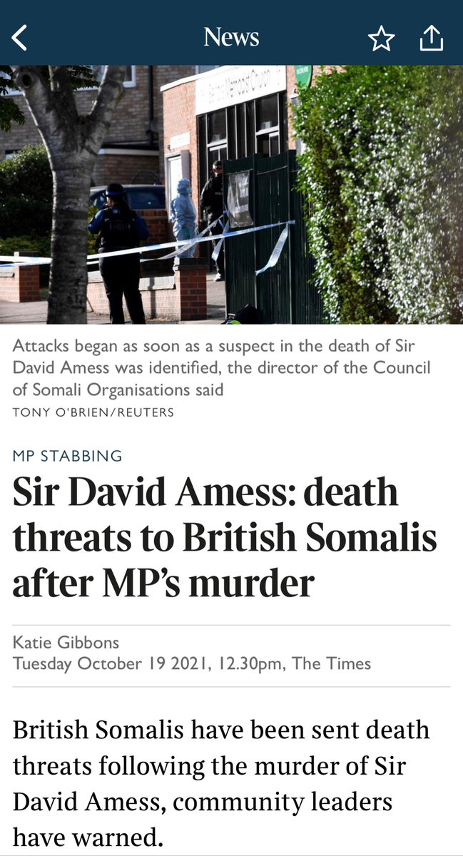 Absolutely appalling that the British Somali community is being targeted after Sir David Amess' murder. Terrorists want to divide us - they must not succeed, our only response is to stand closer together. Solidarity with the Somali community