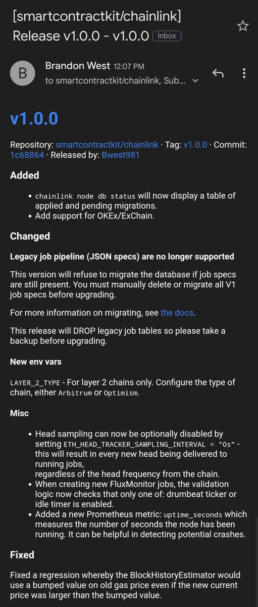🚨 #Chainlink Release v1.0.0 🚨 - Add support for @OKExChain - Legacy JSON job specs are no longer supported (TOML ftw) - Environment variables for layer 2 networks like @arbitrum and @optimismPBC - Miscellaneous updates for tracking new blocks, uptime, and FM validation