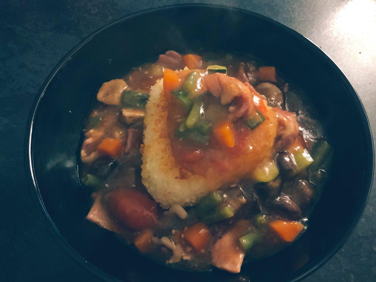 デザート三昧の今日- ̗̀  ʚ 🍰 ɞ   ̖́-夕方流石に塩っぱいのが欲しくなり冷蔵庫にあるもので餡掛けソースの🍙作りました。#OnigiriAction ご参考までに♪♪