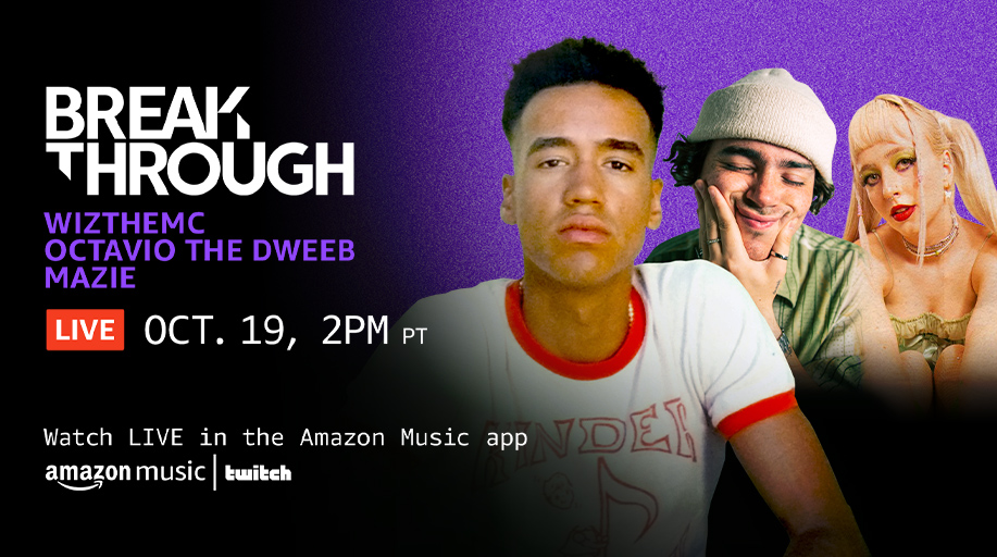 Tap in for a good time! @wiztheemcee, @octaviothedweeb and @heymazie are performing their latest for you LIVE RIGHT NOW! Tune in and catch tracks from them after the show on the Amazon Music Breakthrough Indie playlist 🙌 Follow the link to watch ⬇️ amzn.to/3vt0GCl