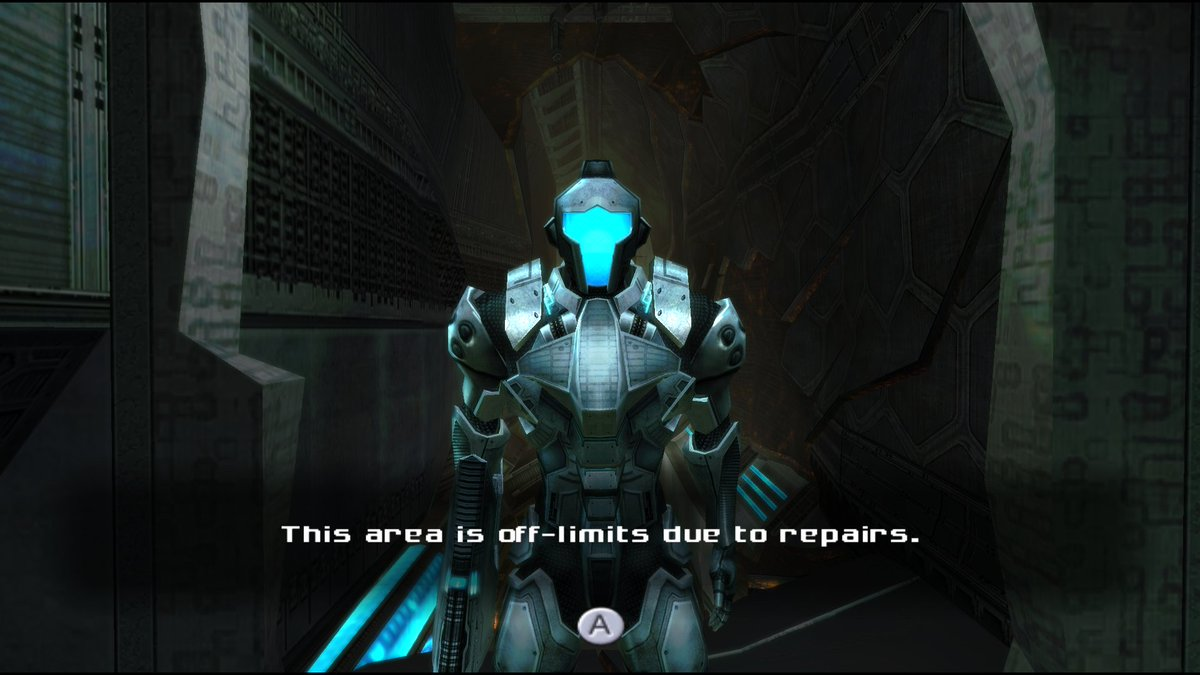 Metroid Prime 3. You can jump over the soldier despite their desire to deny you entry due to repairs.  (2007, Wii, Retro Studios/Nintendo)