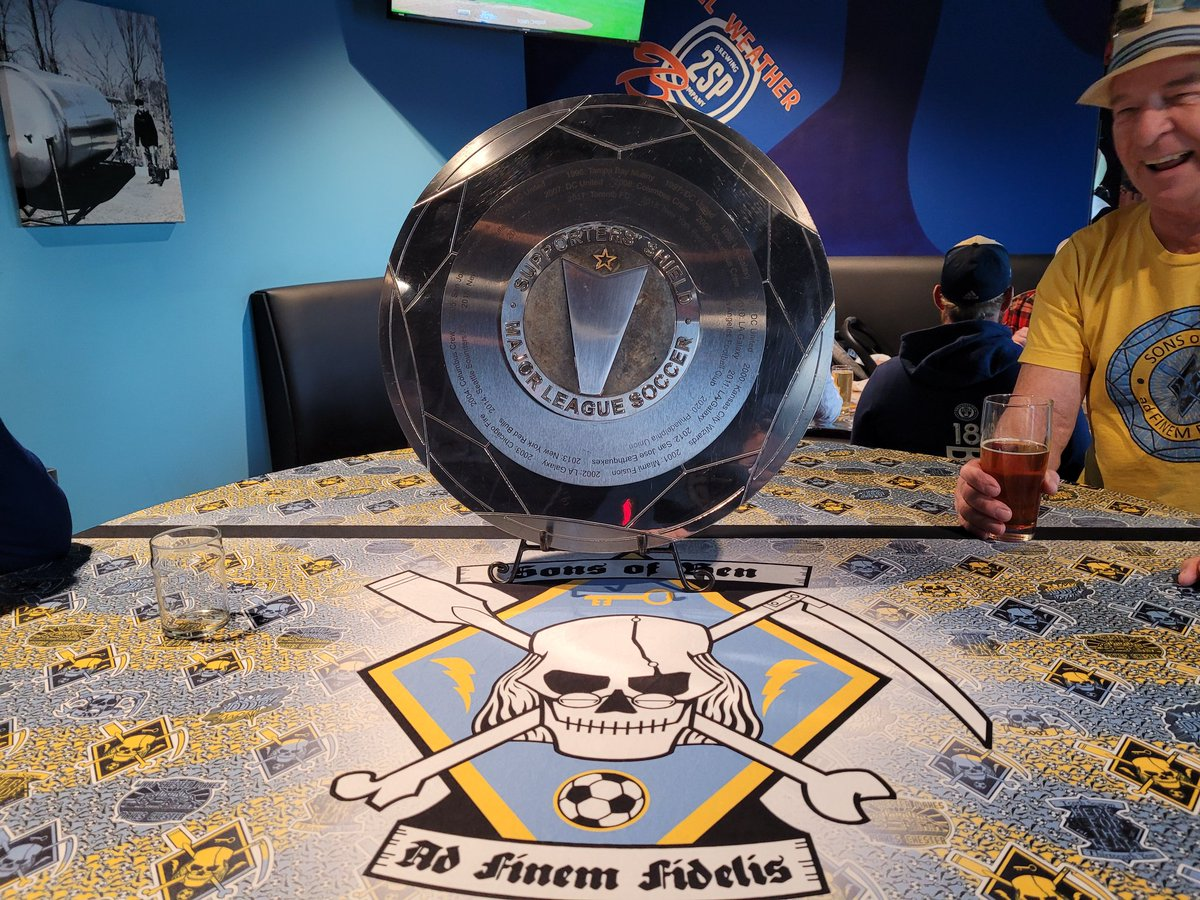 Come on down to @2spbrewing to see the Supporters' Shield! 😢 She will be leaving us, so come hold her one last time!