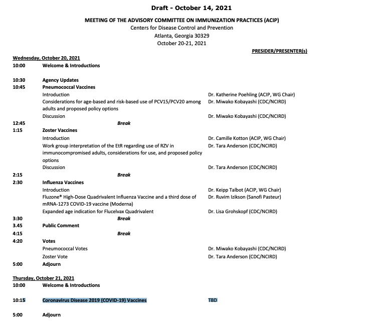 CDC ACIP draft meeting agenda 10/21 'TBD' - cdc.gov/vaccines/acip/…