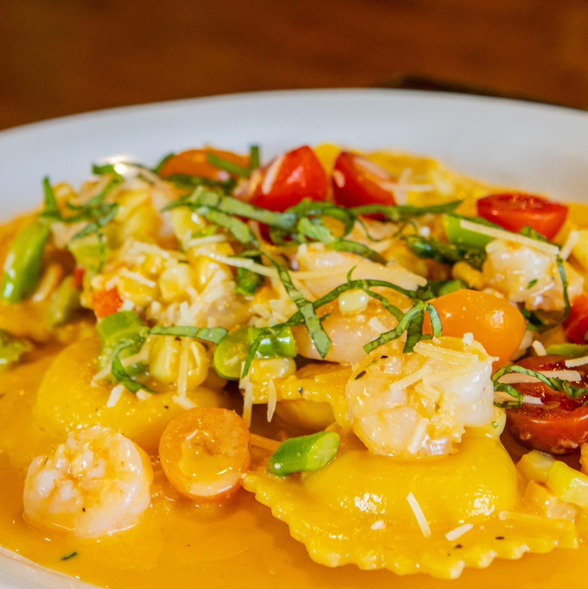 Shrimp and Lobster Ravioli: fresh asparagus, petite tomato, lobster beurre blanc, sweet corn, basil. #LIMITEDtime  #soMUCHyum #alwaysgoodeats #localFAVORITE