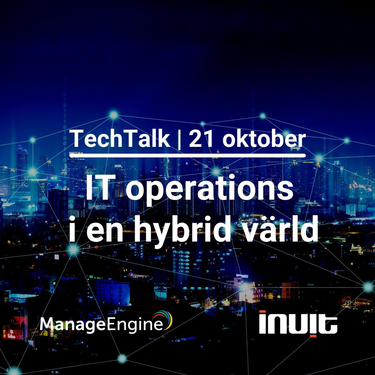 """Imorgon är det dags för TechTalk på temat """"IT operations i en hybrid värld"""". Välkommen!  https://t.co/3GQzMsRhG8 #hybrid #hybridworkplace #monitoring #itom #anywhereoperations #nätverksövervakning https://t.co/e0FRnyjKPd"""