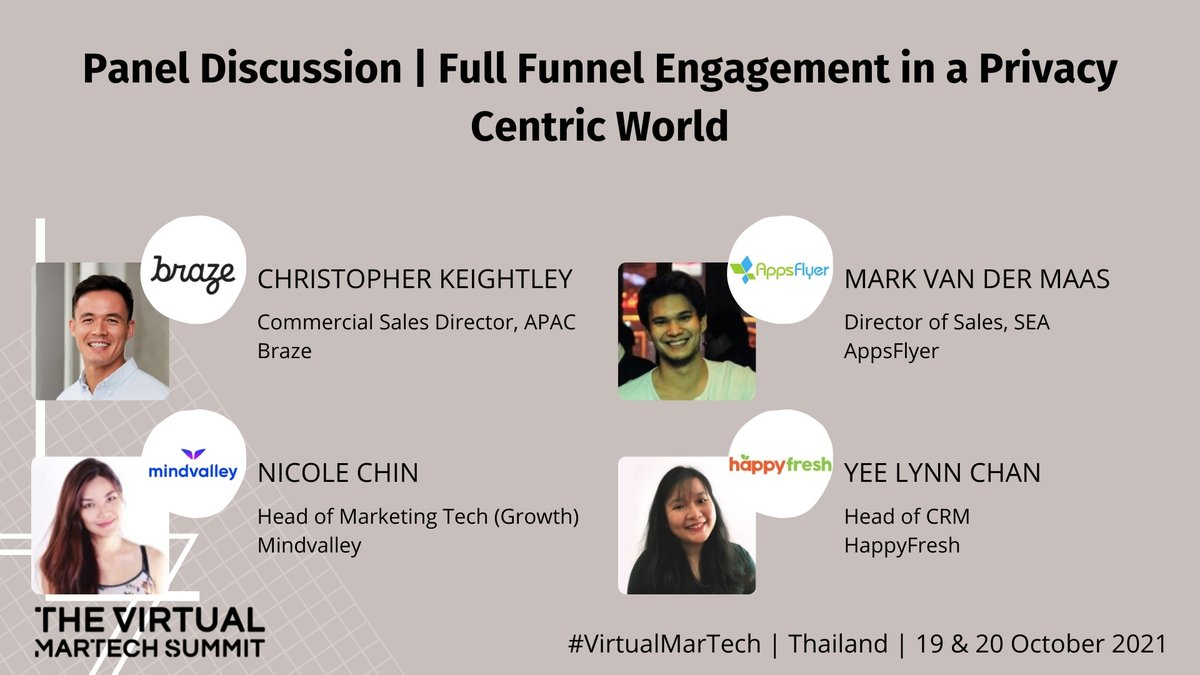 Got privacy concerns? Ask away at our next panel with @Braze, @AppsFlyer, @mindvalley & #HappyFresh for their discussion on Full Funnel Engagement in a Privacy Centric World at The Virtual MarTech Summit Thailand #virtualmartech #themartechsummit #marketing #dataprivacy #virtual