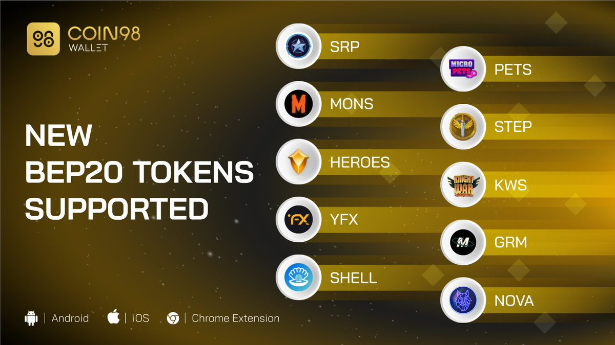 Drumroll please 🥁 We are excited to introduce our newest BEP20 friends on @coin98_wallet this week. Any of these tokens are in your portfolio? 🤔 $SRP $NOVA $GRM $YFX $SHELL $PETS $STEP $KWS $MONS $HEROES