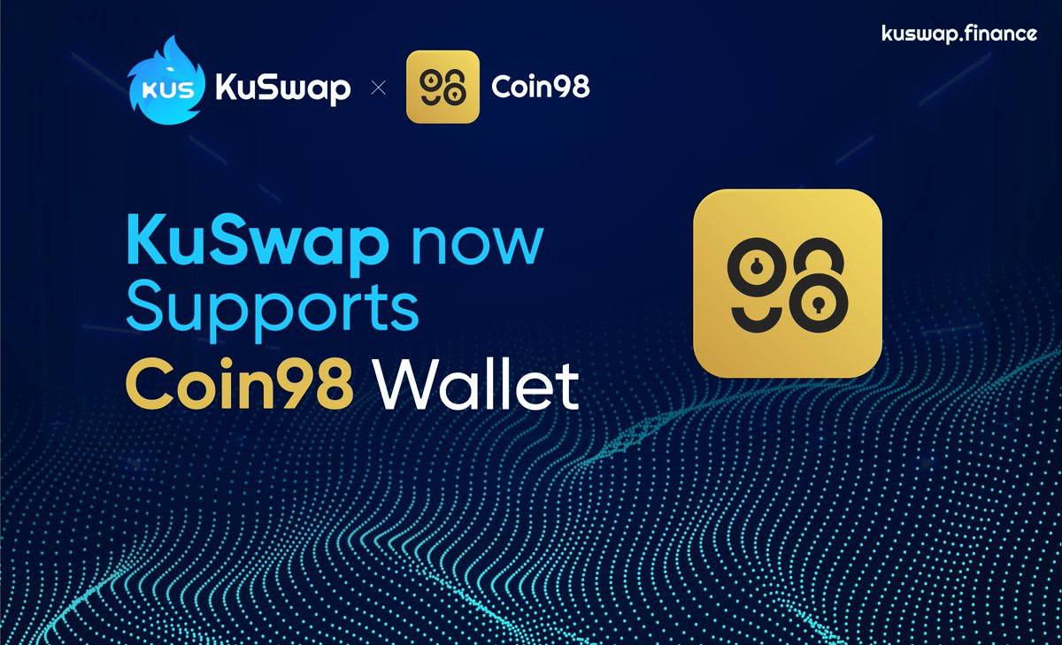 We are pleased to announce our upcoming partnership with @coin98_wallet 🔥 The essential non-custodial and multi-chain wallet made for DeFi users, now with KuSwap integration! Closed lock with key Further information coming this week. #KuSwap #Coin98 #KCC #KuCoin #DeFi