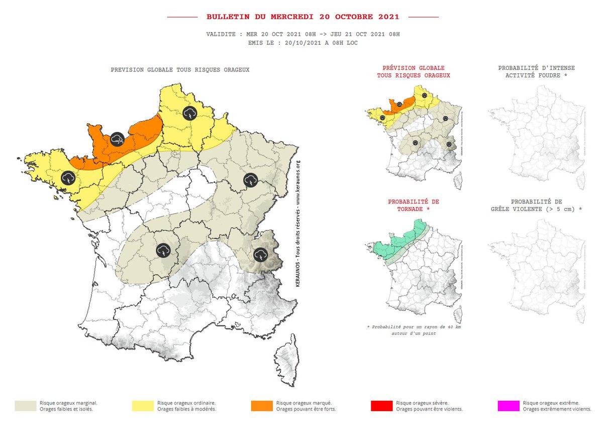 Des #orages localisés mais parfois actifs sont attendus cet après-midi, ce soir et la nuit prochaine, notamment en #Normandie. Ils pourront produire des rafales de 100 à 120 km/h, de fortes pluies et de la #grêle. Bulletin complet :