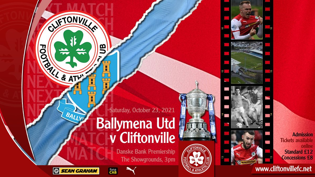🎟 Our supporters have played a key role throughout this season and next up, it's destination Ballymena for the Red Army.  Get your ticket, take your seat and raise the roof.  ➡️ cliftonvillefc.net/2021/10/20/sho…