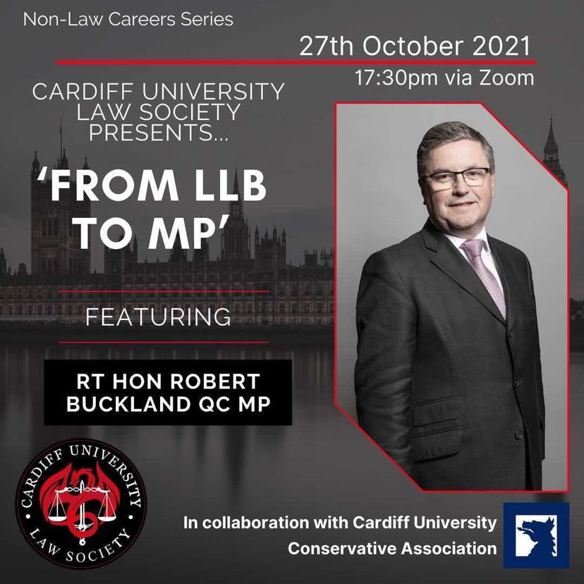 🚨EVENT ANNOUNCEMENT🚨 We're delighted to announce our first collab of the year. A webinar with @CULawSoc, and we'll be joined by former Lord Chancellor and SoS for Justice @RobertBuckland. Tickets are completely FREE! 🎟👉🏼 cardiffstudents.com/events/6455/23…