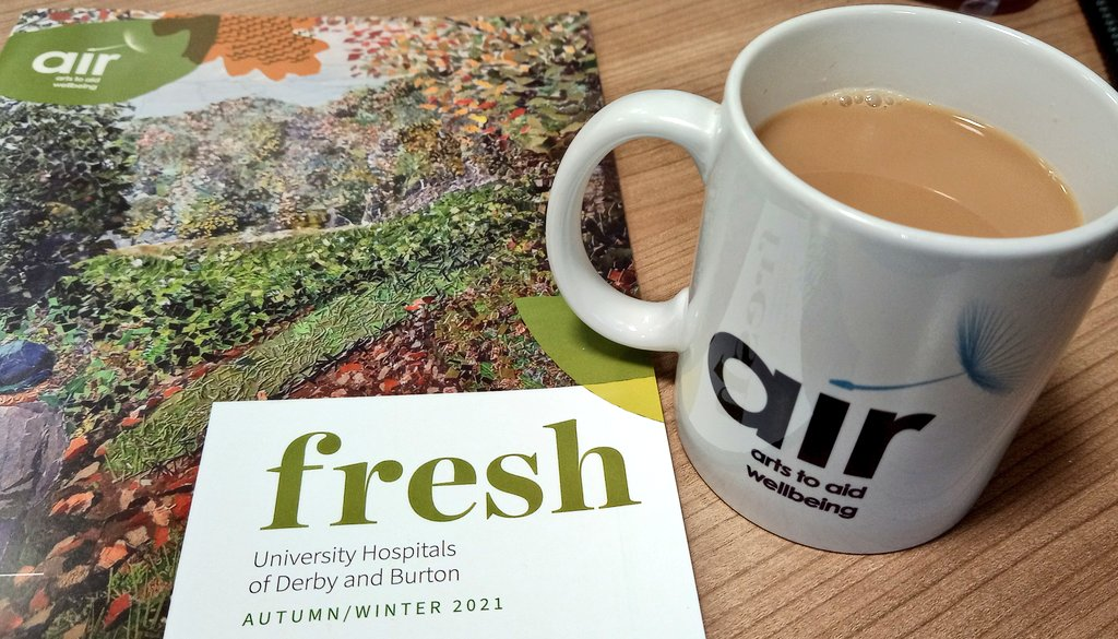 Previewing the brand new Fresh magazine in the best possible way 😊 and looking forward to seeing the full exhibition at our Derby sites from this Friday @UHDBTrust @AirArtsUHDB