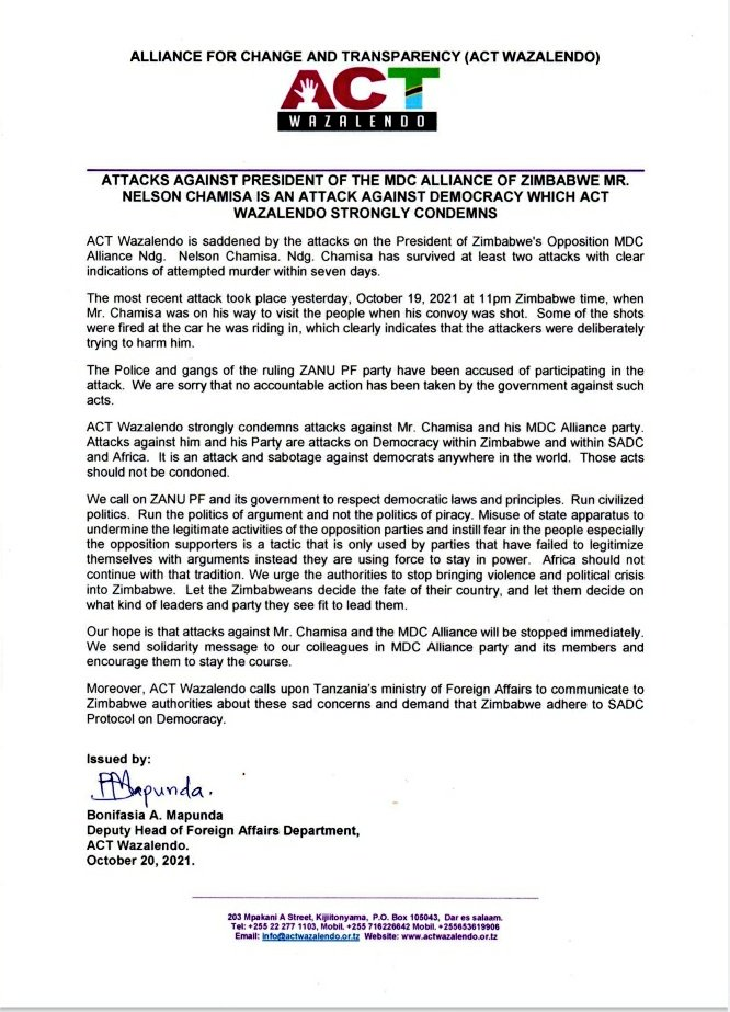 ATTACKS AGAINST PRESIDENT OF THE MDC ALLIANCE (@mdczimbabwe ) OF ZIMBABWE MR. @nelsonchamisa IS AN ATTACK AGAINST DEMOCRACY WHICH ACT WAZALENDO STRONGLY CONDEMNS