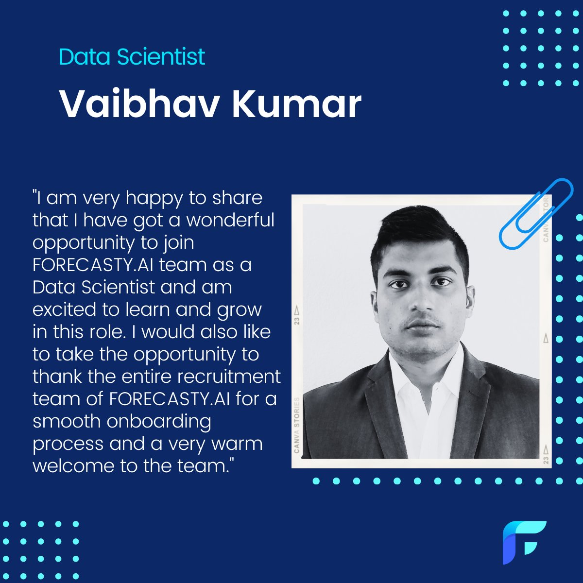 Let's join us on welcoming #ForecastyAI's newest data scientist Vaibhav. We are proud to have him with us on our venture journey and look forward to achieving great things with his new ideas, talents and work ethics. 🤗  #ForecastyAI #newmember #welcometotheteam #datascientist