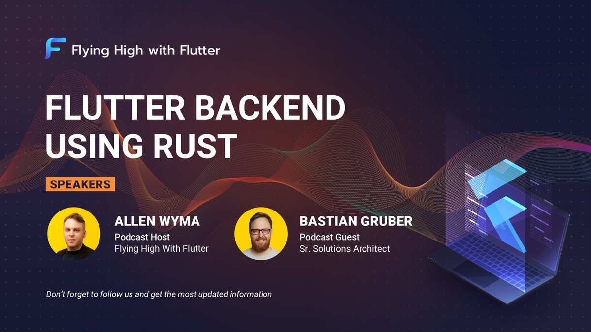 @fhwflutter #flyinghighwithflutter @plangora @recvonline #BastianGruber, the solution architect at Twilio, will be on the #podcast show of @allenwyma on Oct 21, 11:00-12:00 (UTC). He will share with us about using #Rust for #Flutter #backend. youtu.be/xf7BBmiCQSQ #flutterdev