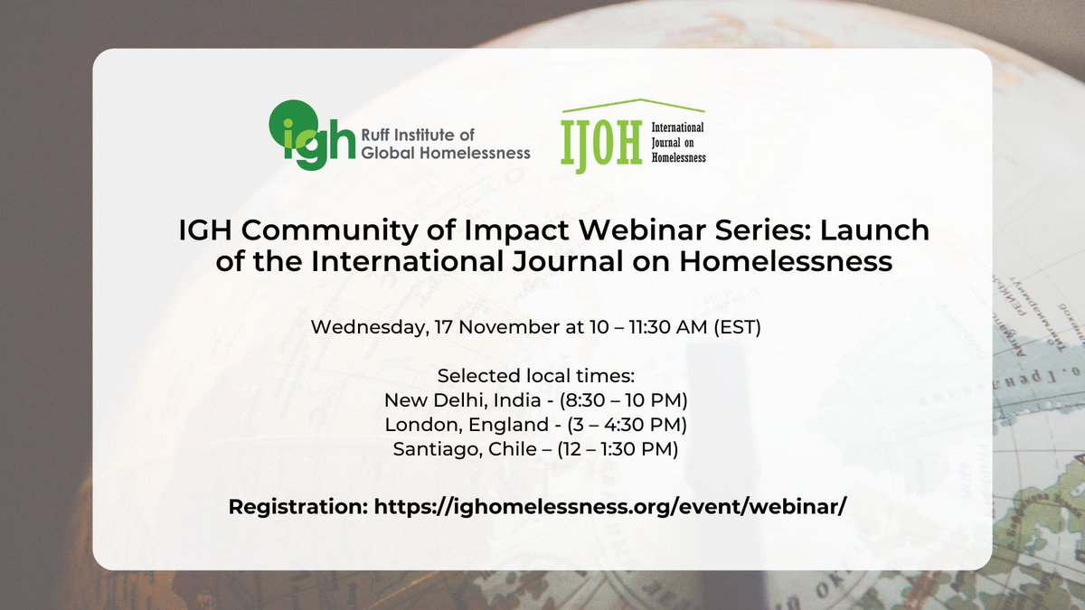 You are invited! To celebrate the launch of the first edition of the International Journal on Homelessness (@IJOHjournal), the featured authors will be presenting their work. Please make the time to join us (and please share widely):