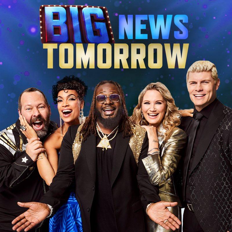 ❗️Tomorrow - BIG news…❗️ @GoBigShowTBS #GoBigShow @bertkreischer @rosariodawson @TPAIN @JenniferNettles #RhodesToTheTop