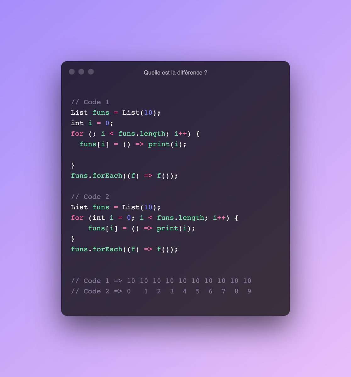 👨💻 Come on, we'll give you a quick challenge. You have two very similar codes and yet the results are different. Do you have any idea why?  #flutter #flutterchallenge #dartlang