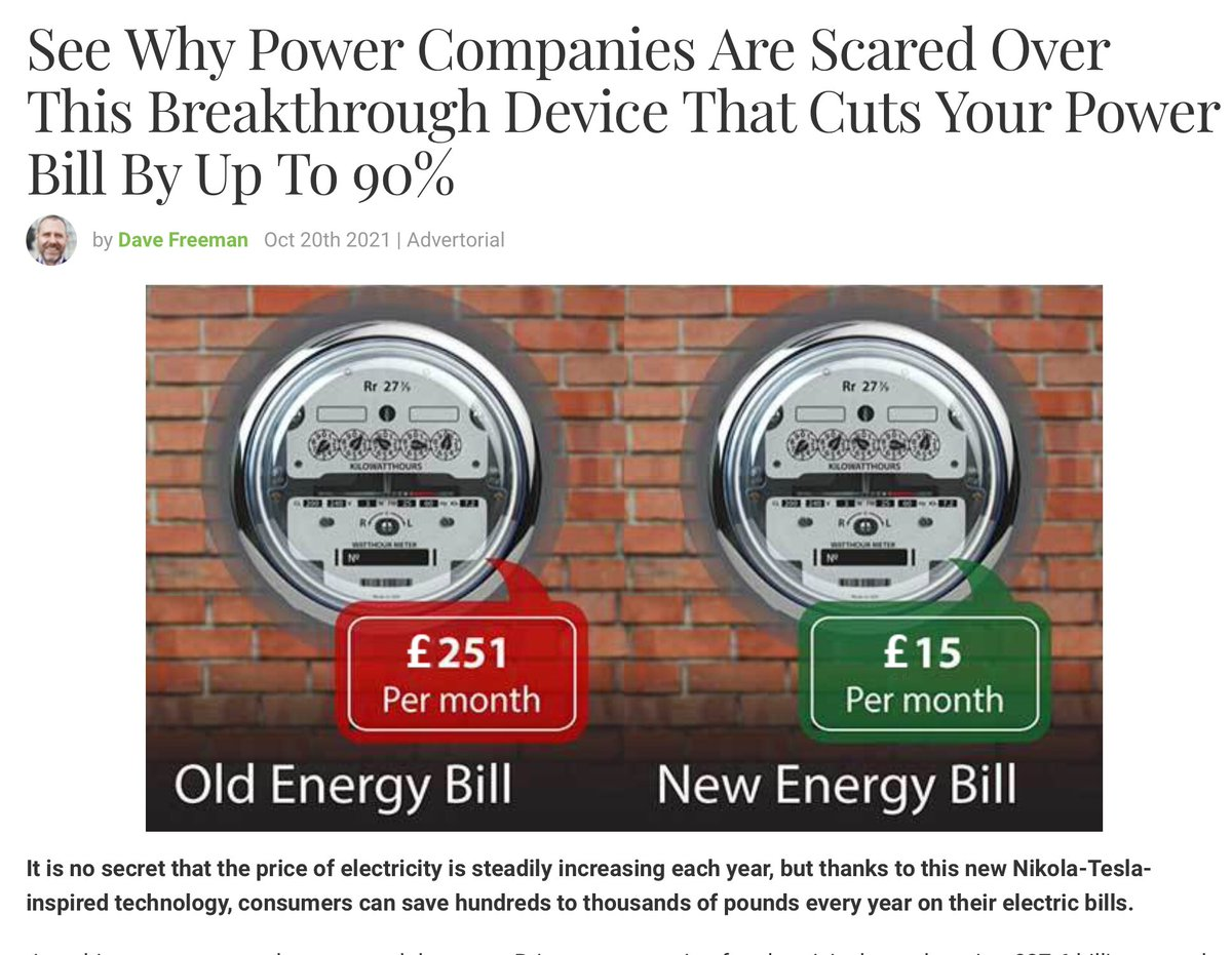 People are getting worried about rising energy bills. Naturally, this is an opportunity for some to advertise nonsense on Facebook. I suppose many must fall for it. #EnergyCrisis #energybills
