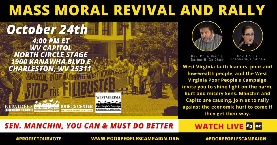 We will be going back to Charleston, WV, this Sunday 10/24 for a Mass Moral Revival & Rally at the state capitol. Join us online or in person! #PoorPeoplesCampaign #ForwardTogether  https://t.co/znes75Qxxk