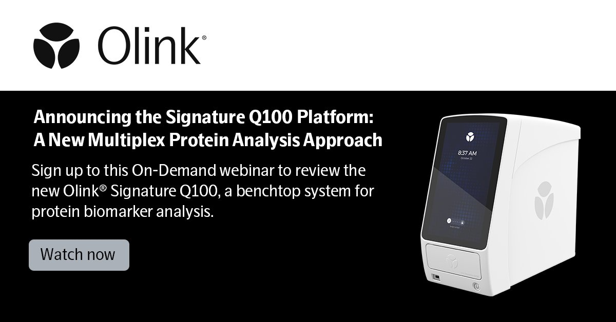Sign up for this exciting on-demand webinar to review the new Olink® Signature Q100, a benchtop system for protein biomarker analysis. #Olink https://t.co/IO0ODykc2c https://t.co/EPSUUUE1q7
