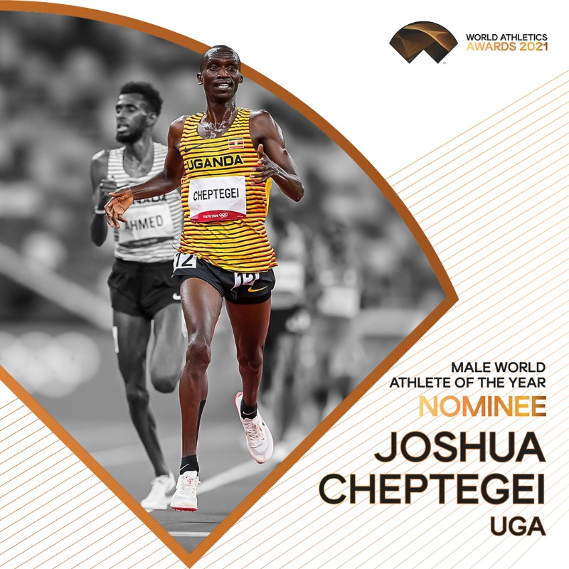 #WorldAthleticsAwards announcement! @joshuacheptege1 is nominated for Male World Athlete of the Year 2021. Retweet to vote for him.