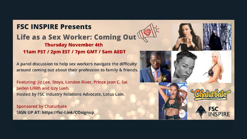 FSC INSPIRE, Chaturbate to Host New 'Life as a Sex Worker' Panel @FSCArmy @itsLotusLain @jizlee @chaturbate @stoya @LondonCRiver @eyez1218 @JaidenLillith @IzzyLush_ xbiz.com/news/262406/fs…
