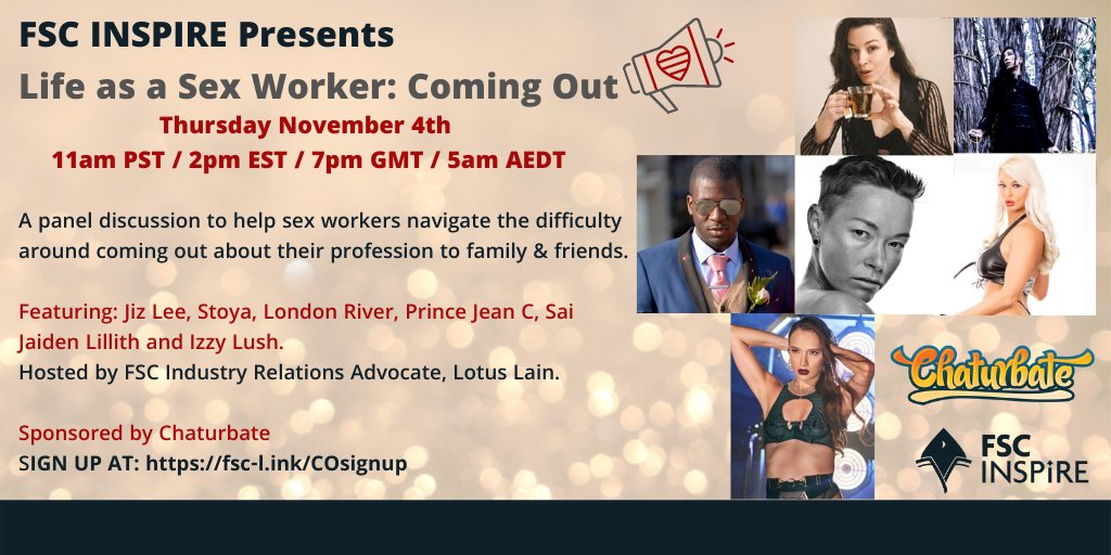 FSC INSPIRE, Chaturbate To Host Sex Worker 'Coming Out' Panel on Nov. 4 ow.ly/nDaG50GuDLK @FSCArmy @chaturbate