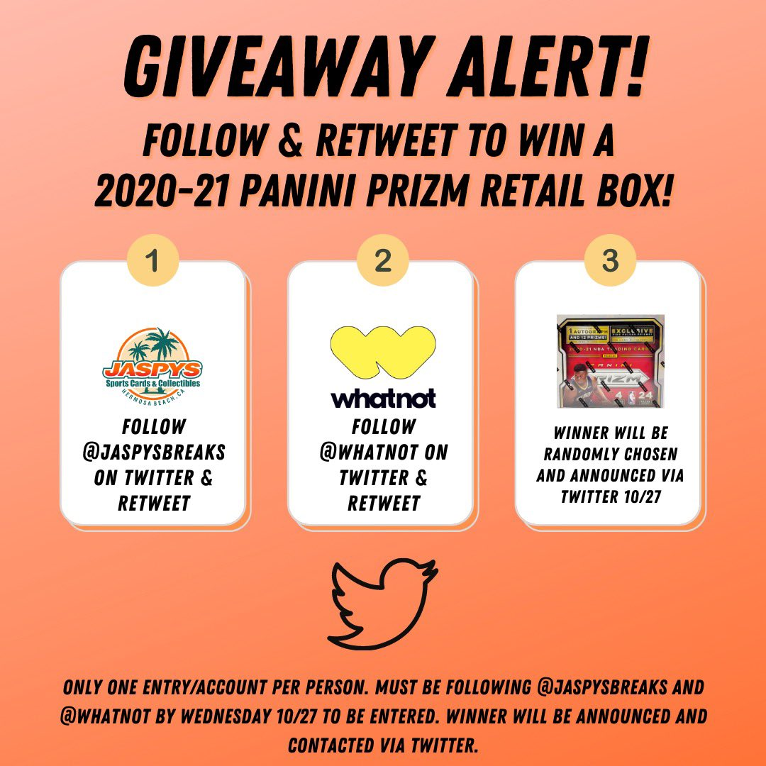 Who wants to win a box of 20-21 Prizm Retail? Just be following us + retweet this tweet & follow + retweet @Whatnot! Winner picked 10/27! Catch us live on Whatnot every week! #sportscards #whatnot #thehobby #prizm #casebreaks #PaniniAmerica #nbacards