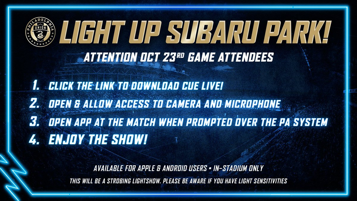 🚨 Attention Oct 23 Match Attendees! CUE THE LIGHTS! Be a part of our in-stadium light show on Saturday & download the CUE Live app.💡 🍎 philaunion.co/apple 🤖 philaunion.co/android #DOOP