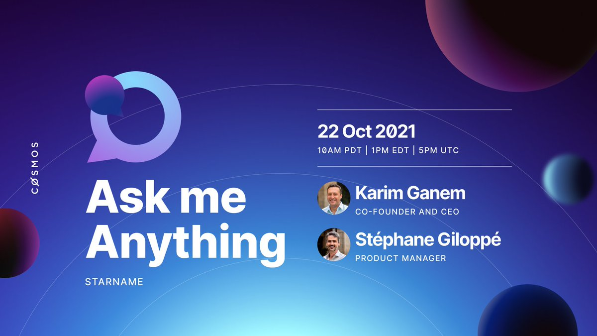 ⚛️ Cosmos AMA ⚛️  💬 Replay  Did you miss @zcpeng's Community interview about #CosmosSignal, @emerisHQ, @StarportHQ and more? We got you covered! https://t.co/KktjwfQZhT  ...and don't miss today's AMA with @starname_me team  🚀