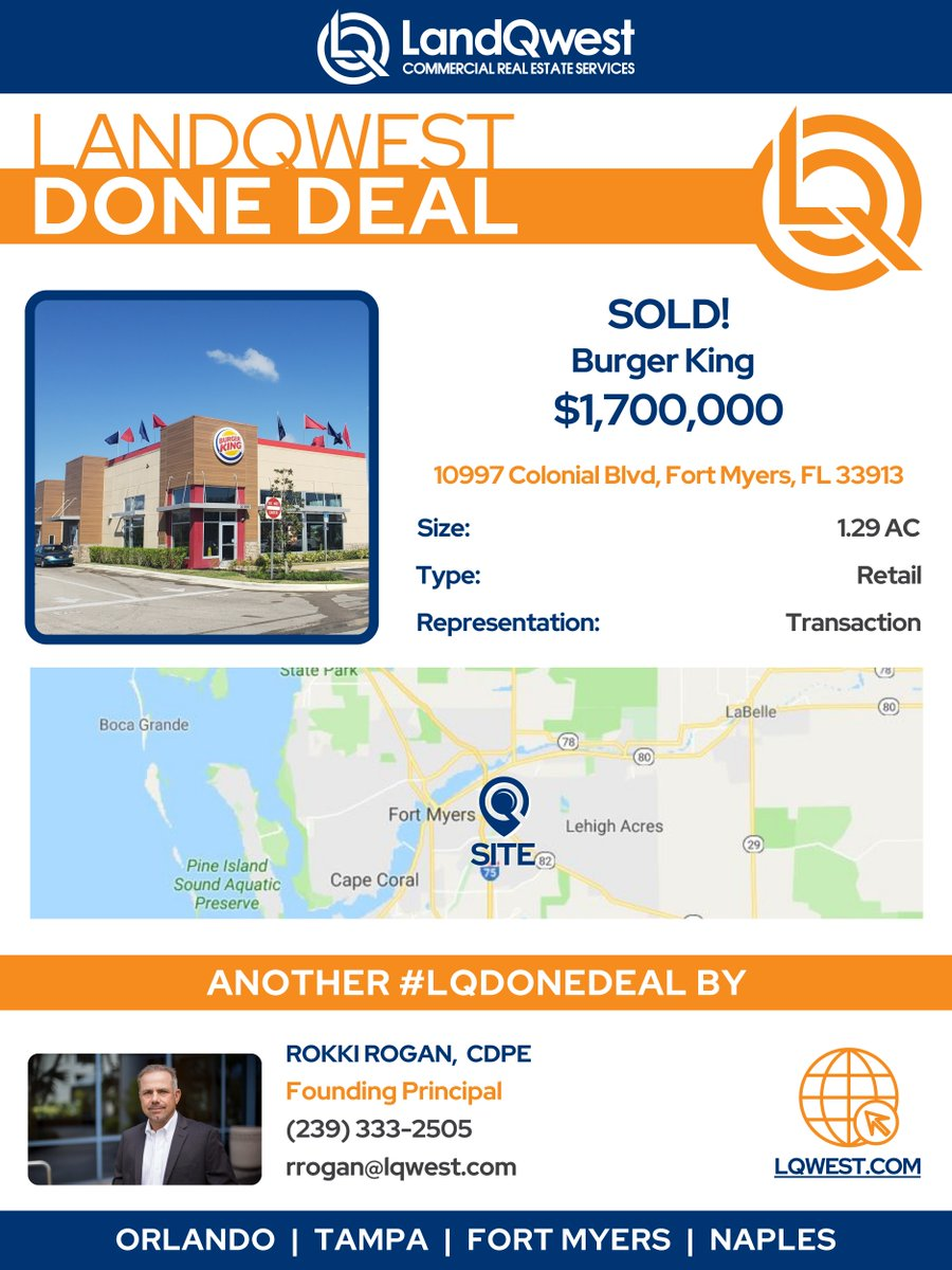 🎉DONE DEAL: 1.29 Acre site with a long-term land lease for Burger King SOLD for $1,700,000. Congratulations Rokki Rogan, CDPE 🙌🏽 #DoneDeal #LQDoneDeal #LQWest https://t.co/D2f2ECh1Gu.