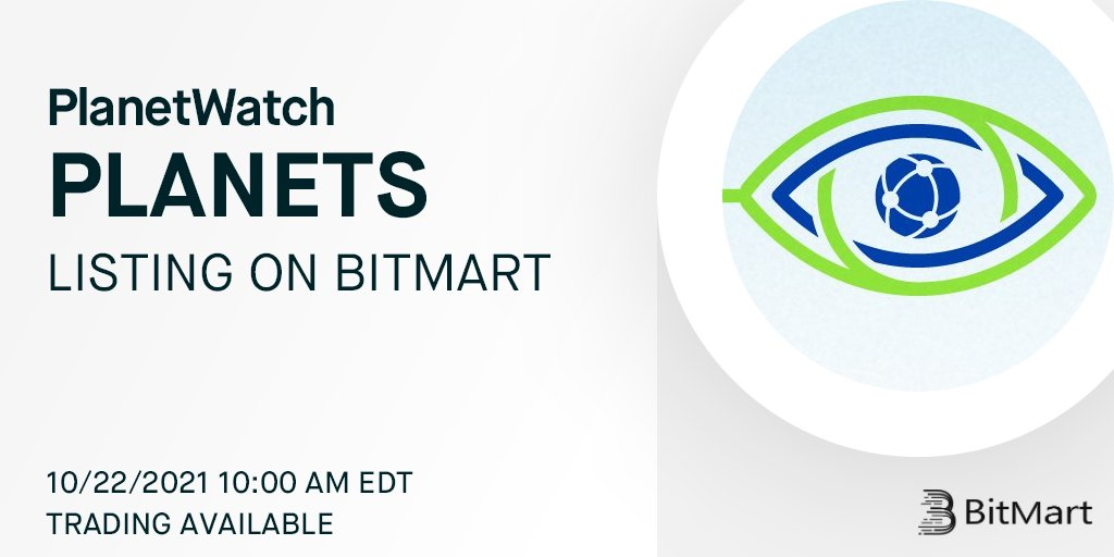 .@PlanetWatchsas's Planet token, an Algorand Standard Asset, is coming to @BitMartExchange 🙌 #greencrypto