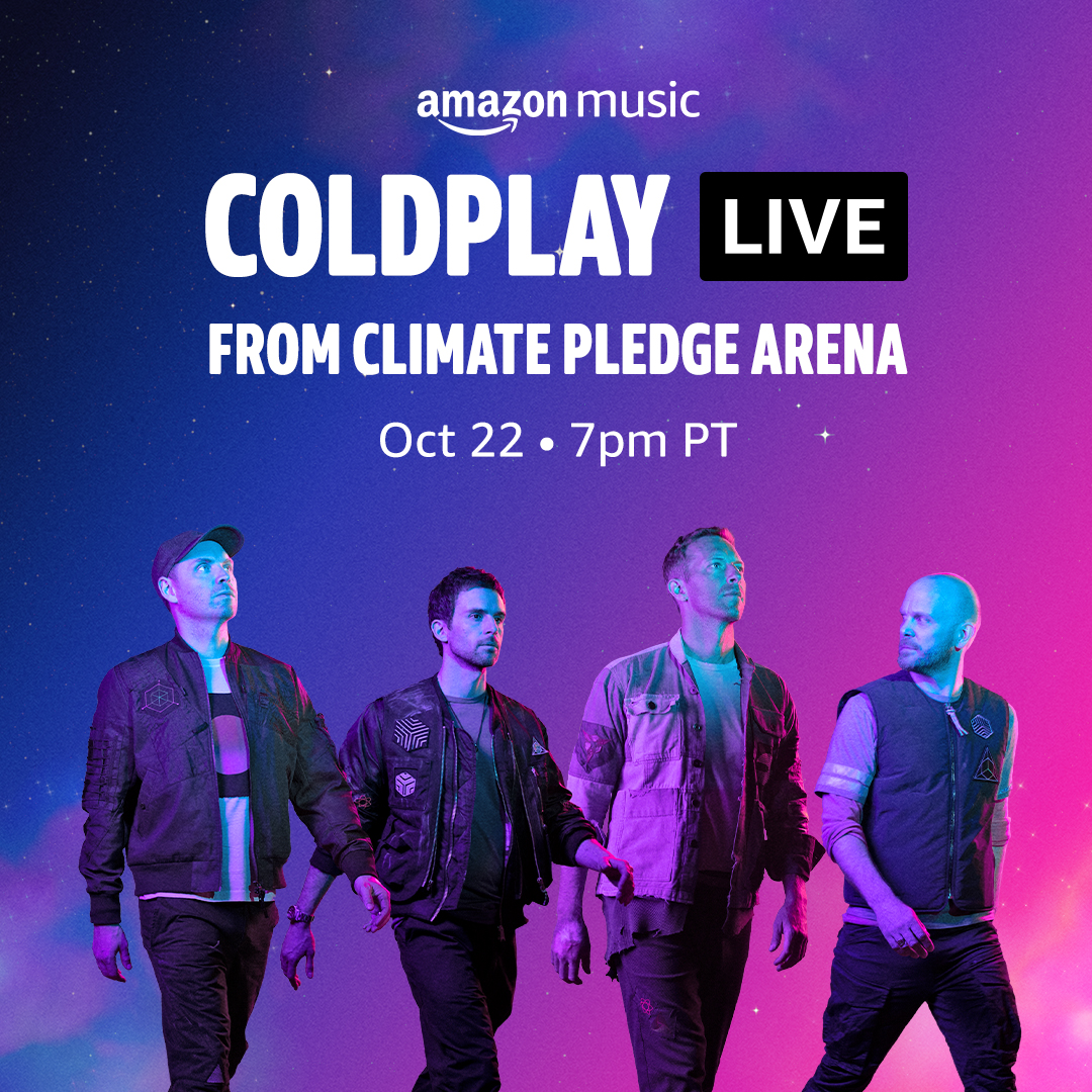 Watch the band perform at Climate Pledge Arena, Seattle LIVE (for free) on Amazon.com, Amazon Music, Prime Video or Twitch. Tune in Friday at 7pm PT (Oct 22) / 5am UK (Oct 23). cldp.ly/amznseattle