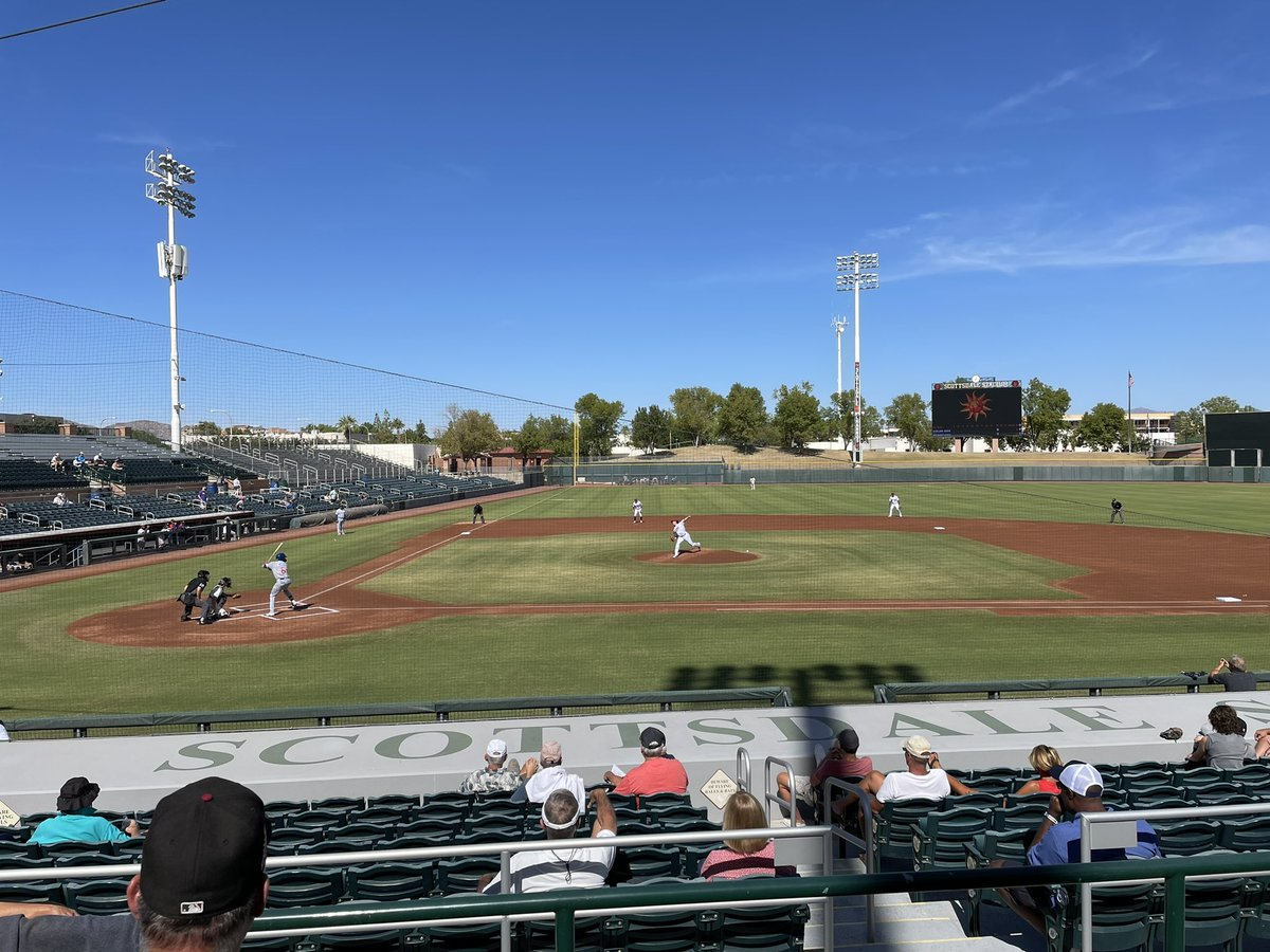 The Catch is in #Arizona this week for some Arizona Fall League baseball. Today we are in Scottsdale to watch the Mesa Solar Sox v. the Scottsdale Scorpions. Evan Fitterer of the #Marlins starting for Mesa. #AzFL #JuntosMiami