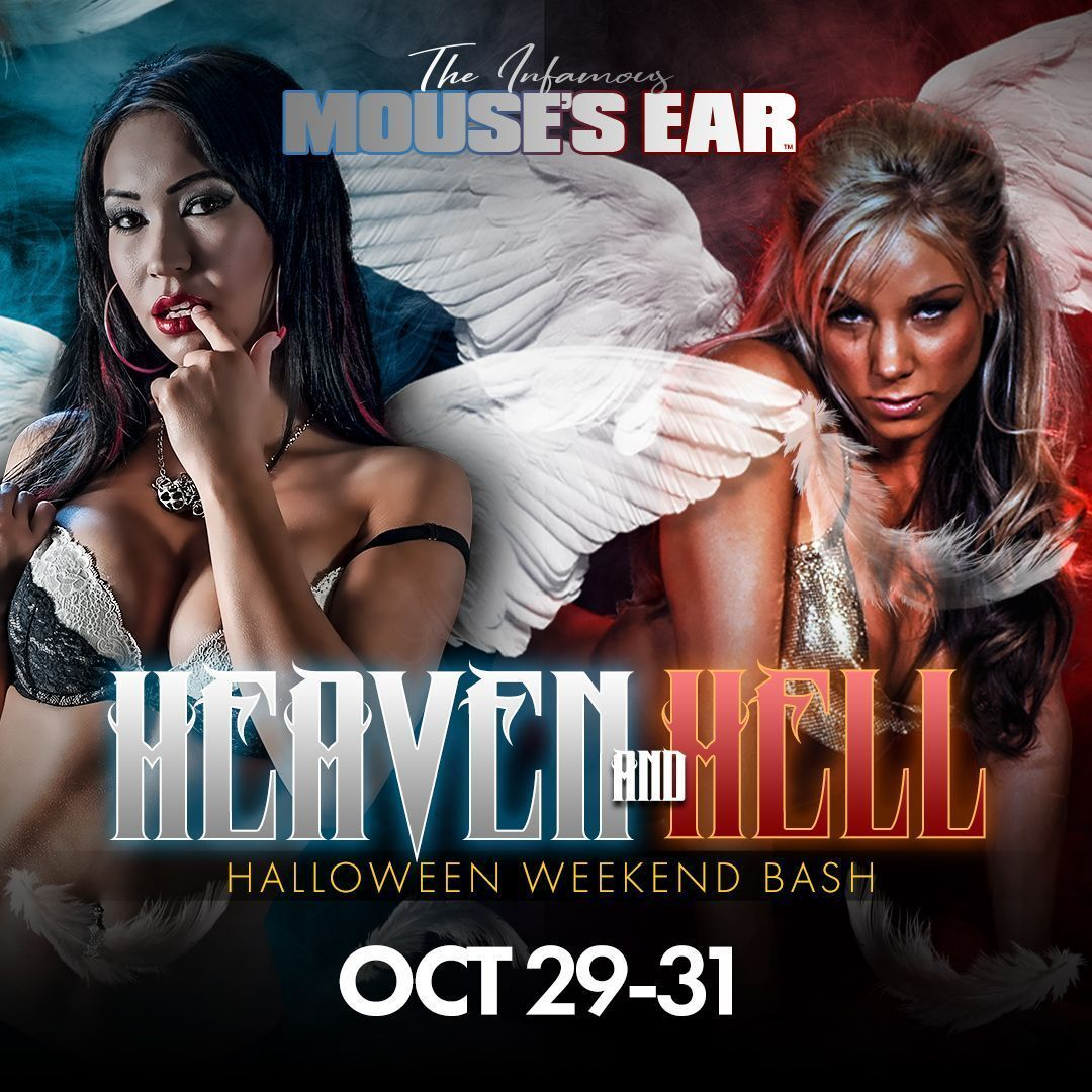 Join us for our first ever Heaven & Hell HALLOWEEN PARTY! Choose your side: Wear white for Heaven, Red for Hell. We're doing naughty things with our angels all weekend long! See you there! . . . #Heaven #Hell #Halloween2021 #halloweenparty #devil #angel #mousesear #johnsoncity