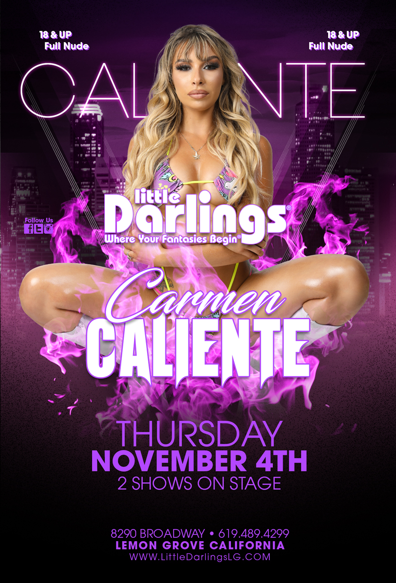 💥 Coming up! 💥 ONE NIGHT ONLY! @carmencalixxx NOV 4TH 2 shows for you! #LittleDarlingsLG