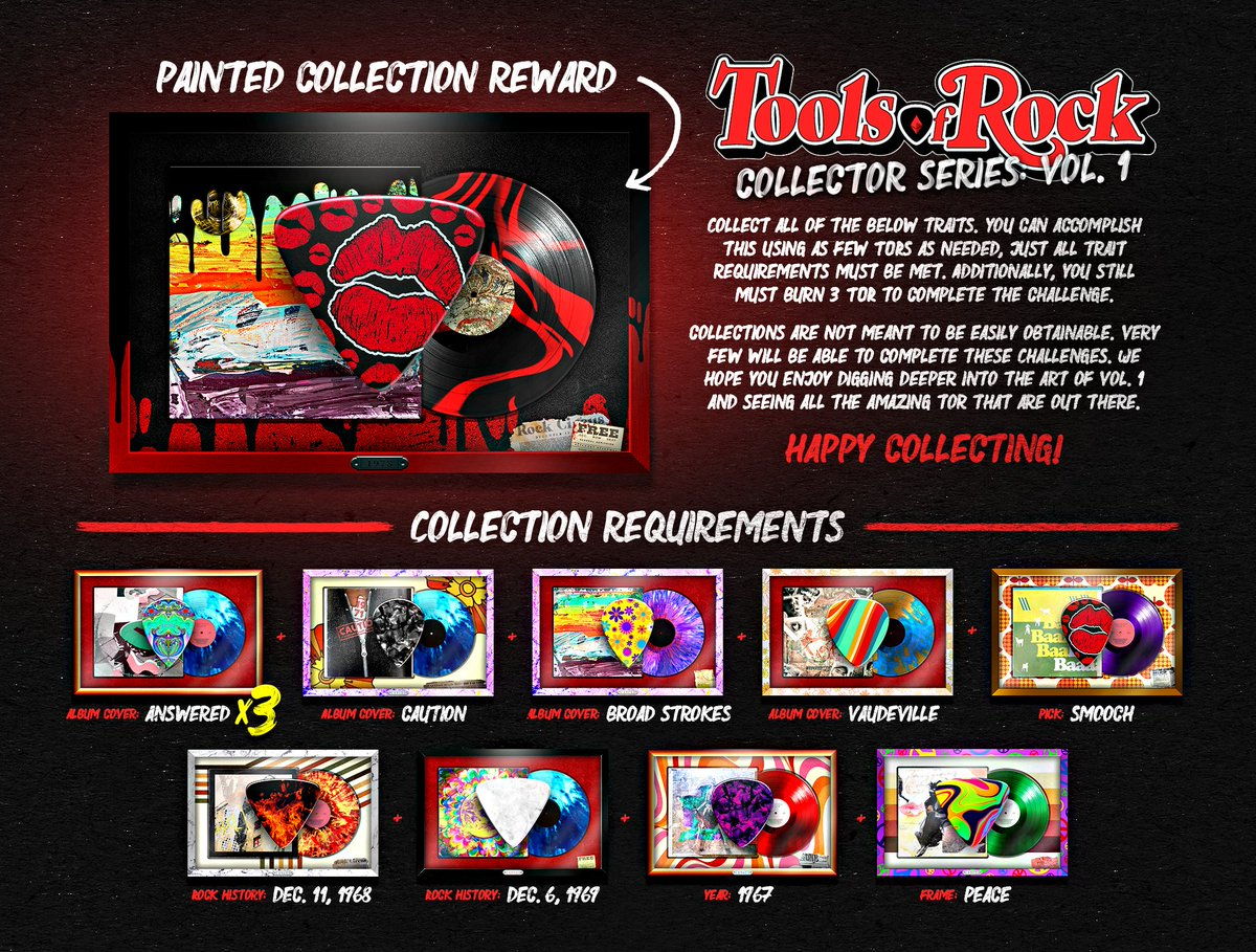 Introducing our second Tools of Rock Vol 1 collection 'Painted'. Collect all of the below traits to claim the reward at a later date TBD. You will have until Thursday October 28nd at 5pm EST to complete the requirements. Head to Discord for more info: discord.gg/toolsofrock