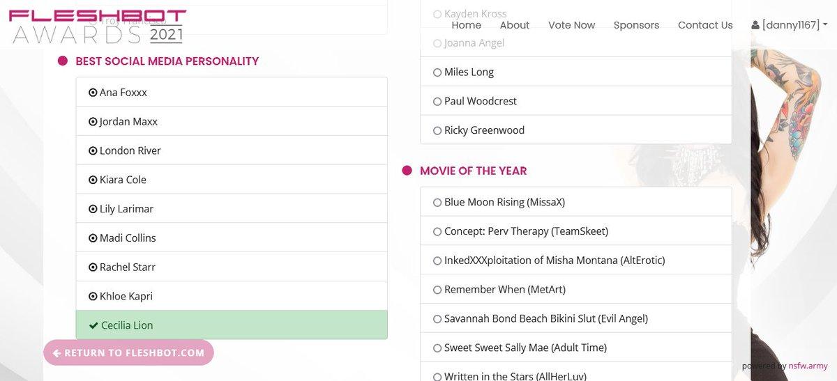 Voted for @officialcclionx Best Social Media Personality @Fleshbot Awards fleshbotawards.com/?voted=1#nomin…