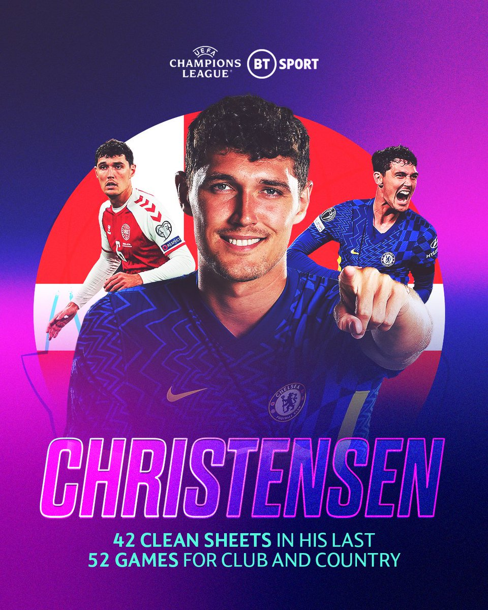 RT @btsportfootball: 42 clean sheets in his last 52 competitive games...  Don't sleep on Andreas Christensen 🔒  #UCL https://t.co/yCtXeWfPV6