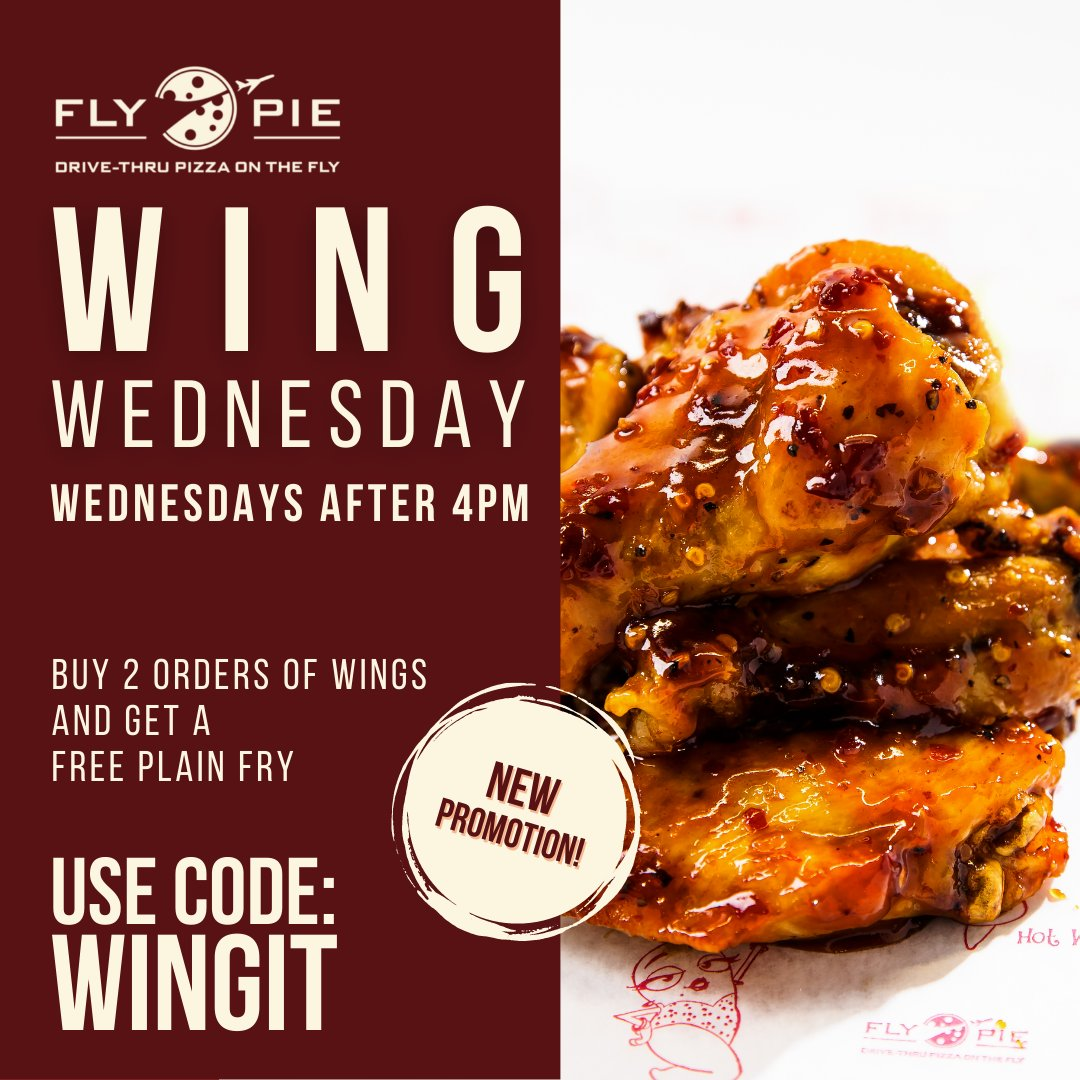 Wing Wednesday is here!  Grab two orders of wings and get a plain fry for FREE.  Use Promo Code WINGIT Valid only on Wednesdays after 4pm. *Offer may not be combined with other offers or discounts.*  #flypiepizza #flythetunnel #discount #vegasdiscount