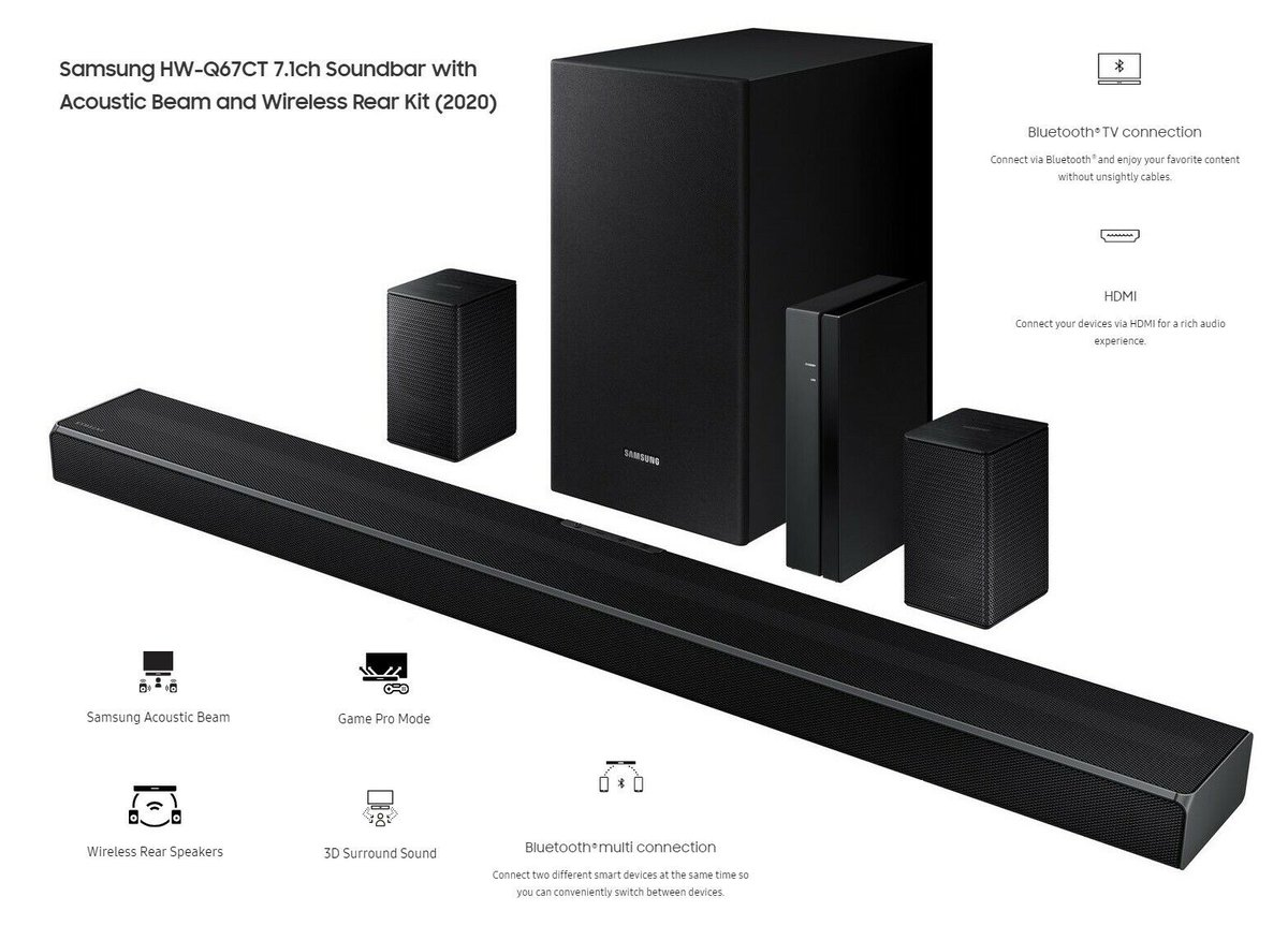 Samsung HW-Q67CT 7.1ch Soundbar with Acoustic Beam - Certified Refurbished  $200