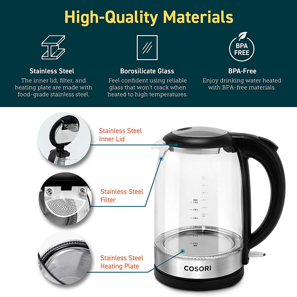 COSORI Electric Kettle with Upgraded Stainless Steel Filter and Inner Lid   Save 10%